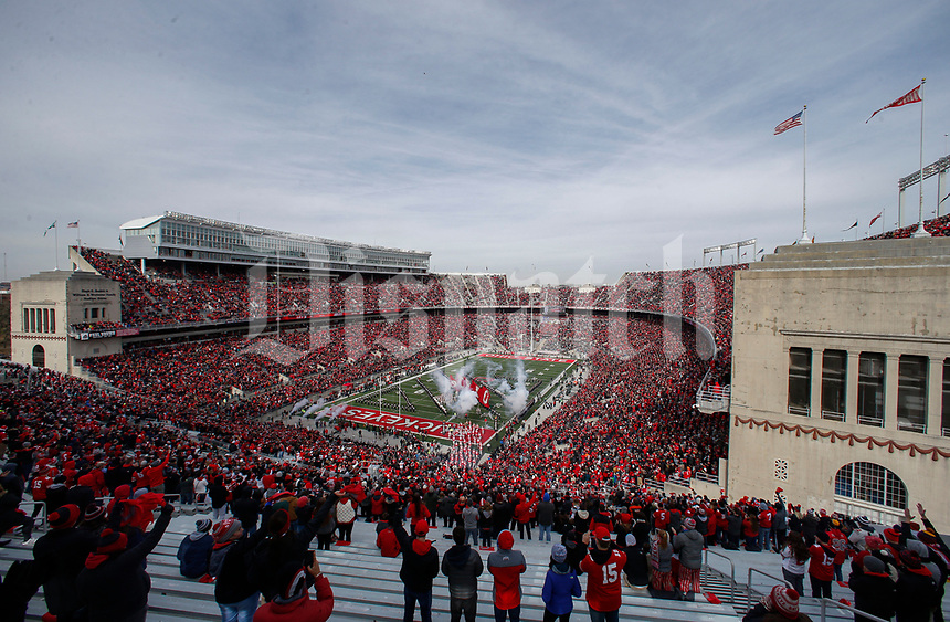 The Ohio State Buckeyes take the field before a NCAA college football game between the Ohio State Buckeyes and the Michigan State Spartans on Saturday, November 11, 2017 at Ohio Stadium in Columbus, Ohio. [Joshua A. Bickel/Dispatch]