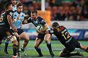 June 3rd 2017, FMG Stadium, Waikato, Hamilton, New Zealand; Super Rugby; Chiefs versus Waratahs;  Waratahs centre Rob Horne tries to break the tackle of Chiefs second five Stephen Donald during the Super Rugby rugby match