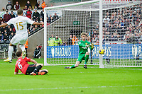 Sunday, 23 November 2012<br /> <br /> Pictured: Wayne Routlage of Swansea City, Jonny Evans of Manchester United and David de Gea of Manchester United<br /> <br /> Re: Barclays Premier League, Swansea City FC v Manchester United at the Liberty Stadium, south Wales.