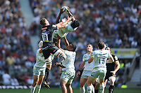 Acrobatics from Maro Itoje of Saracens as he catches a high re-start ball during the Aviva Premiership Rugby Final between Exeter Chiefs and Saracens at Twickenham Stadium on Saturday 26th May 2018 (Photo by Rob Munro/Stewart Communications)