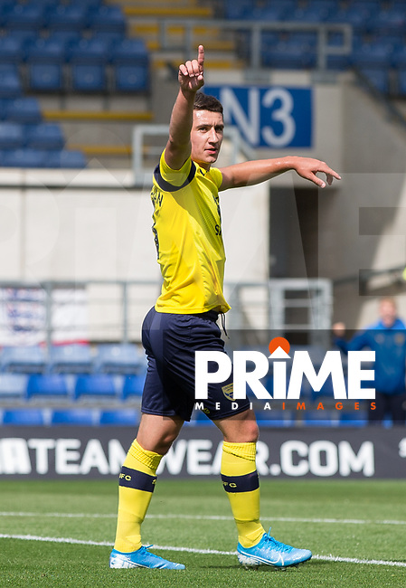 Cameron Brannagan of Oxford United celebrates his goal  during the Sky Bet League 1 match between Oxford United and Peterborough at the Kassam Stadium, Oxford, England on 10 August 2019. Photo by Andy Rowland.