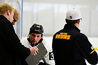September 15, 2017: Boston Bruins left wing Matt Beleskey (39) reviews his times during the Boston Bruins training camp held at Warrior Ice Arena in Brighton, Massachusetts. Eric Canha/CSM