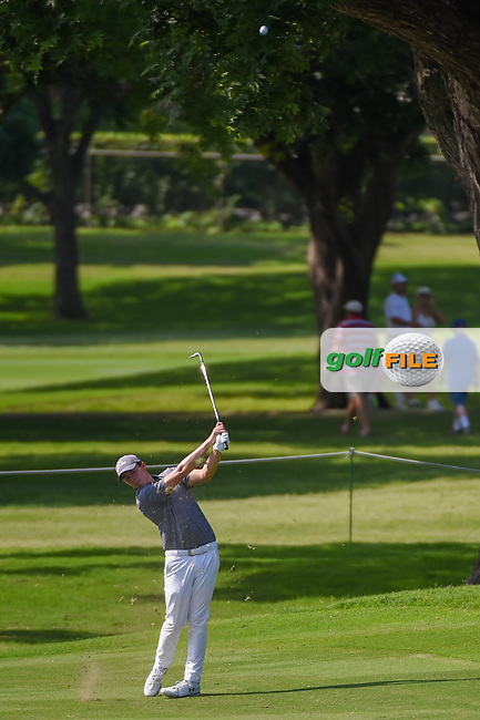 Matt Fitzpatrick (ENG) hits his approach shot on 2 during round 3 of the 2019 Charles Schwab Challenge, Colonial Country Club, Ft. Worth, Texas,  USA. 5/25/2019.<br /> Picture: Golffile | Ken Murray<br /> <br /> All photo usage must carry mandatory copyright credit (© Golffile | Ken Murray)