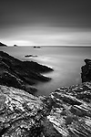 British coastal scene with rocky coastline with long exposure