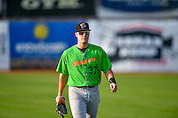 Anthony Villa (37) of the Great Falls Voyagers walks onto the field before the game against the Ogden Raptors in Pioneer League action at Lindquist Field on August 18, 2016 in Ogden, Utah. Ogden defeated Great Falls 10-6. (Stephen Smith/Four Seam Images)
