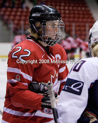 Hayley Wickenheiser (Canada - 22), Natalie Darwitz (US - 20) - Team USA defeated Team Canada 4-3 (so) to win the 2008 Four Nations Cup on Sunday, November 9, 2008, in the 1980 Rink in Lake Placid, New York.