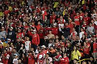 BOGOTÁ - COLOMBIA, 25-07-2017: Hinchas de Santa Fe animan a su equipo durante partido entre Independiente Santa Fe de Colombia y Fuerza Amarilla de Ecuador por la segunda fase, llave 8, de la Copa CONMEBOL Sudamericana 2017 jugado en el estadio Nemesio Camacho El Campin de la ciudad de Bogotá. / Fans of Santa Fe cheer for their team during the match between Independiente Santa Fe of Colombia and Fuerza Amarilla of Ecuador for the second phase, key 8, of the Copa CONMEBOL Sudamericana 2017 played at Nemesio Camacho El Campin stadium in Bogota city.  Photo: VizzorImage / Gabriel Aponte / Staff