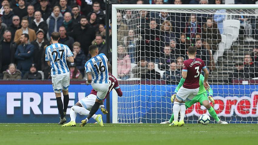 Huddersfield Town's Karlan Grant scores his side's second goal <br /> <br /> Photographer Rob Newell/CameraSport<br /> <br /> The Premier League - West Ham United v Huddersfield Town - Saturday 16th March 2019 - London Stadium - London<br /> <br /> World Copyright © 2019 CameraSport. All rights reserved. 43 Linden Ave. Countesthorpe. Leicester. England. LE8 5PG - Tel: +44 (0) 116 277 4147 - admin@camerasport.com - www.camerasport.com