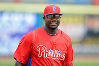 Philadelphia Phillies first baseman Ryan Howard #6 before a Spring Training game against the Boston Red Sox at Bright House Field on March 24, 2013 in Clearwater, Florida.  Boston defeated Philadelphia 7-6.  (Mike Janes/Four Seam Images)