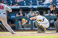 Michigan Wolverines catcher Harrison Salter (11) behind the plate during Game 11 of the NCAA College World Series against the Texas Tech Red Raiders on June 21, 2019 at TD Ameritrade Park in Omaha, Nebraska. Michigan defeated Texas Tech 15-3 and is headed to the CWS Finals. (Andrew Woolley/Four Seam Images)