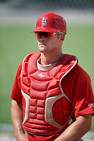 GCL Cardinals catcher Joe Freiday (49) during a game against the GCL Mets on August 6, 2018 at Roger Dean Chevrolet Stadium in Jupiter, Florida.  GCL Cardinals defeated GCL Mets 6-3.  (Mike Janes/Four Seam Images)