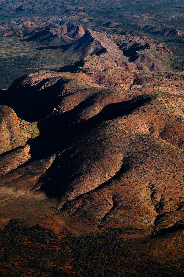 The West MacDonnell Ranges lit by late afternoon sun