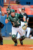 Dartmouth Big Green catcher Adam Gauthier (9) during a game against the Long Island Blackbirds at Chain of Lakes Stadium on March 17, 2013 in Winter Haven, Florida.  Dartmouth defeated UAB 11-4.  (Mike Janes/Four Seam Images)