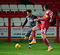 Lincoln City's Kellan Gordon vies for possession with Accrington Stanley's Luke Charman<br /> <br /> Photographer Andrew Vaughan/CameraSport<br /> <br /> The EFL Checkatrade Trophy Second Round - Accrington Stanley v Lincoln City - Crown Ground - Accrington<br />  <br /> World Copyright &copy; 2018 CameraSport. All rights reserved. 43 Linden Ave. Countesthorpe. Leicester. England. LE8 5PG - Tel: +44 (0) 116 277 4147 - admin@camerasport.com - www.camerasport.com