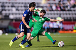 Hojayev Resul of Turkmenistan (R) fights for the ball with Doan Ritsu of Japan (L) during the AFC Asian Cup UAE 2019 Group F match between Japan (JPN) and Turkmenistan (TKM) at Al Nahyan Stadium on 09 January 2019 in Abu Dhabi, United Arab Emirates. Photo by Marcio Rodrigo Machado / Power Sport Images