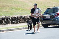 Coolangatta, Queensland (Monday, February 18, 2019) Mick Fanning (AUS) with an armfull of Creatures of leisure prodact. Fanning is a part owner of the company.- Cyclone Oma is pushing a South East swell into the Gold Coast with waves on the points and D-Bah. Mid tide D-Bah was the spot this morning with a an A-Frame peak at the Lovers end providing plenty of action. Mick Fanning (AUS), Joel Parkinson  (AUS), Seth Moniz (HAW) and Jack Freestone (AUS) were the standouts. Photo: joliphotos.com