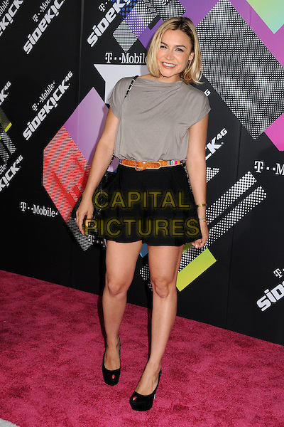 SAMAIRE ARMSTRONG.The T-Mobile Sidekick 4G Launch Party held at a private lot in Beverly Hills, California, USA..April 20th 2011.full length top black shorts grey gray brown belt platform peep toe shoes bag .CAP/ADM/BP.©Byron Purvis/AdMedia/Capital Pictures.