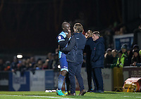 Wycombe Wanderers Manager Gareth Ainsworth embraces Adebayo Akinfenwa of Wycombe Wanderers as he leaves the field during the Sky Bet League 2 match between Wycombe Wanderers and Hartlepool United at Adams Park, High Wycombe, England on 26 November 2016. Photo by Andy Rowland / PRiME Media Images.