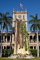 Statue of King Kamehameha I, draped with flower leis in honor of Kamehameha Day, in front of Aliiolani Hale, Honolulu, Hawaii