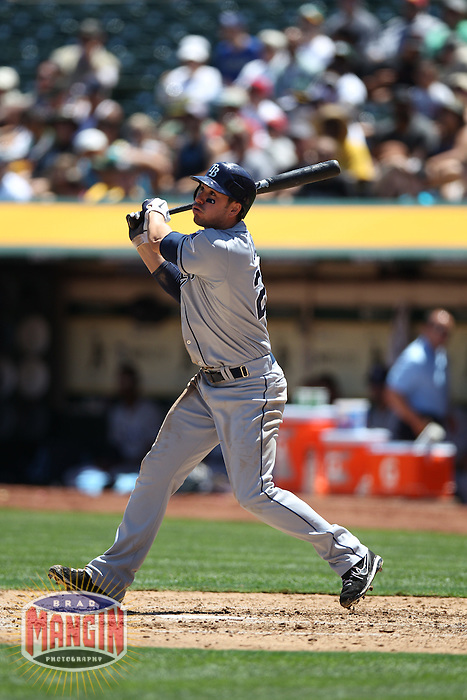 OAKLAND, CA - AUGUST 1:  Matt Joyce #20 of the Tampa Bay Rays bats against the Oakland Athletics during the game at O.co Coliseum on Wednesday, August 1, 2012 in Oakland, California. Photo by Brad Mangin