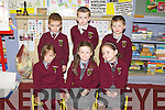 Representing the three counties of Kerry, Limerick and Cork were the Junior infants from Knockaclarig NS who started back last Monday morning, f l-r: Hannah Dempsey, Caoimhe Broderick, Niamh Murphy. B l-r: Fionn Murphy, Séan Mulvihill and Adam Carroll.