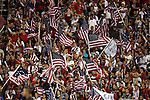 11 September 2012: U.S. fans wave American flags. The United States Men's National Team defeated the Jamaica Men's National Team 1-0 at Columbus Crew Stadium in Columbus, Ohio in a CONCACAF Third Round World Cup Qualifying match for the FIFA 2014 Brazil World Cup.