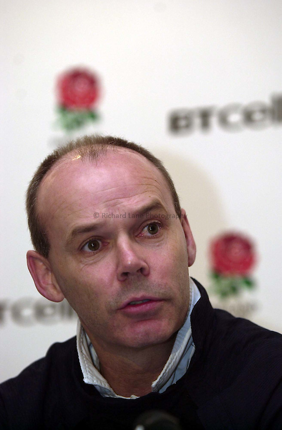 Photo. Richard Lane. .England Team Announcement at Pennyhill Hotel, Bagshot. 26-2-2002.Clive Woodward