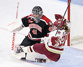 Florence Schelling (Northeastern - 41), Kate Leary (BC - 28) - The Northeastern University Huskies defeated the Boston College Eagles in a shootout on Monday, January 31, 2012, in the opening round of the 2012 Women's Beanpot at Walter Brown Arena in Boston, Massachusetts. The game is considered a 1-1 tie for NCAA purposes.