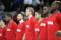 Team GB during National Anthem during the EuroBasket 2015 2nd Qualifying Round Great Britain v Bosnia & Herzegovina (Euro Basket 2nd Qualifying Round) at Copper Box Arena in London. - 13/08/2014