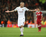 Radja Nainggolan of AS Roma during the Champions League Semi Final 1st Leg match at Anfield Stadium, Liverpool. Picture date: 24th April 2018. Picture credit should read: Simon Bellis/Sportimage
