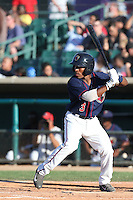 Tony Kemp #3 of the Lancaster JetHawks bats against the Inland Empire 66ers at The Hanger on May 26, 2014 in Lancaster, California. Lancaster defeated Inland Empire, 6-5. (Larry Goren/Four Seam Images)