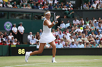 Victoria Azarenka (BLR) during her match against Simona Halep (ROU) in their Ladies' Singles Third Round match<br /> <br /> Photographer Rob Newell/CameraSport<br /> <br /> Wimbledon Lawn Tennis Championships - Day 5 - Friday 5th July 2019 -  All England Lawn Tennis and Croquet Club - Wimbledon - London - England<br /> <br /> World Copyright © 2019 CameraSport. All rights reserved. 43 Linden Ave. Countesthorpe. Leicester. England. LE8 5PG - Tel: +44 (0) 116 277 4147 - admin@camerasport.com - www.camerasport.com