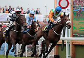 June 10th 2017, Chester Racecourse, Cheshire, England; Chester Races Horse racing; Starlight Romance ridden by Adam Mc Namara wins the Liverpool Gin Stakes ahead of Connor Murtagh on Vona in second place