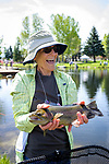 Jennifer Pahl shows off her catch during the Casting for Recovery fishing clinic at Bently Ranch in Gardnerville, Nev. May 4, 2018.<br /> Photo by Candice Vivien/Nevada Momentum