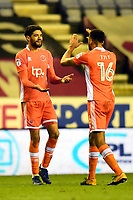 Blackpool's Kelvin Mellor celebrates with Curtis Tilt<br /> <br /> Photographer Richard Martin-Roberts/CameraSport<br /> <br /> The EFL Sky Bet League One - Wigan Athletic v Blackpool - Tuesday 13th February 2018 - DW Stadium - Wigan<br /> <br /> World Copyright &not;&copy; 2018 CameraSport. All rights reserved. 43 Linden Ave. Countesthorpe. Leicester. England. LE8 5PG - Tel: +44 (0) 116 277 4147 - admin@camerasport.com - www.camerasport.com