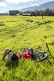 USA, Hawaii, The Big Island, journalist Daniel Duane takes a rest after a mountain bike ride on Mana Road at the base of the Kiluea volcano