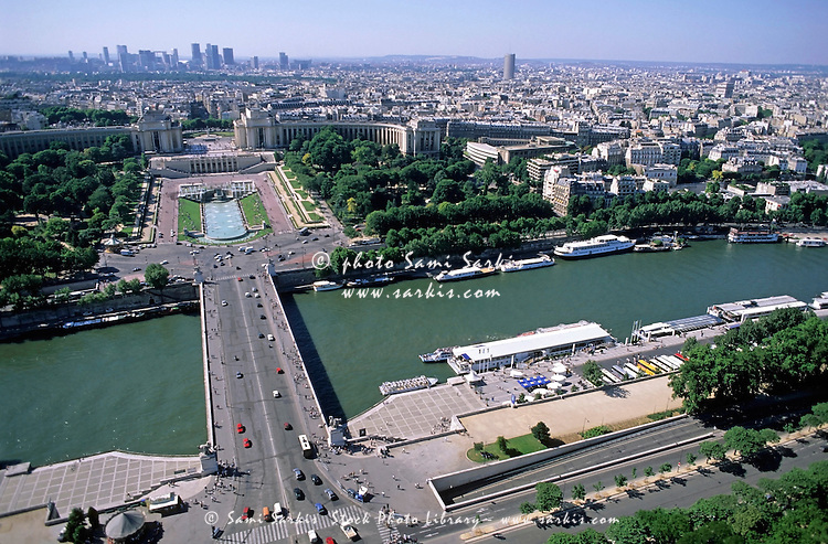 Palais Chaillot in Trocadéro across the Pont d'Iéna as seen from the Eiffel Tower, Paris, France.