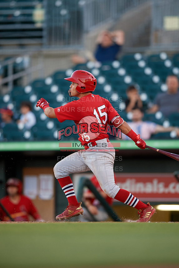 Palm Beach Cardinals second baseman Irving Lopez (15) follows through on a swing during a game against the Jupiter Hammerheads on August 4, 2018 at Roger Dean Chevrolet Stadium in Jupiter, Florida.  Palm Beach defeated Jupiter 7-6.  (Mike Janes/Four Seam Images)