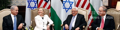 United States Secretary of State Hillary Rodham Clinton (second from left) with U.S. Special Envoy for Middle East Peace George C. Mitchell (fourth from left) hosts direct talks between President Mahmoud Abbas of the Palestinian Authority (third from left) and Prime Minister Benjamin Netanyahu of Israel (first from left) in Sharm El Sheikh, Egypt, on Tuesday, September 14, 2010..Credit: Department of State via CNP.