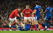 17th March 2018, Principality Stadium, Cardiff, Wales; NatWest Six Nations rugby, Wales versus France; Rob Evans of Wales runs through the challenge of Adrien Pelissie of France