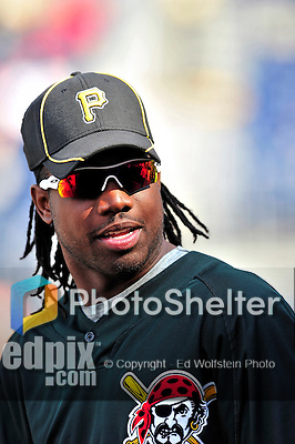 8 June 2010: Pittsburgh Pirates' outfielder Lastings Milledge awaits his turn in the batting cage prior to a game against the Washington Nationals at Nationals Park in Washington, DC. The Nationals defeated the Pirates 5-2 in the series opener where pitching sensation Stephen Strasburg made his Major League debut, striking out 14 batters and notching his first win in the majors. Mandatory Credit: Ed Wolfstein Photo