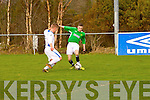 Dublin's Lioyd Buckley and kerry's Shane Lowth at the Kerry against DDSL in the Youths Cup at Mounthawk park on Sunday