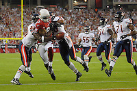 Oct. 16, 2006; Glendale, AZ, USA; Arizona Cardinals  wide receiver Bryant Johnson (80) scores a touchdown against the Chicago Bears at University of Phoenix Stadium in Glendale, AZ. Mandatory Credit: Mark J. Rebilas