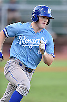 Burlington Royals right fielder Kort Peterson (8) runs to first base during game against the Elizabethton Twins at Joe O'Brien Field on August 24, 2016 in Elizabethton, Tennessee. The Royals defeated the Twins 8-3. (Tony Farlow/Four Seam Images)