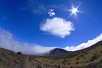 A glorious sky and a sweeping view of Haleakala crater, Maui