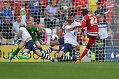 09/08/2015 Sky Bet League Championship Preston North End v Middlesbrough <br /> Paul Huntington blocks Albert Adomah's second half shot