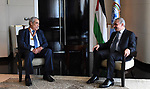 Palestinian Prime Minister Mohammad Ishtayeh, meets with Algerian Ambassador to the Republic of Egypt in Cairo, Egypt, on October 8, 2019. Photo by Prime Minister Office