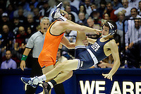 STATE COLLEGE, PA -DECEMBER 19: Joey Dance of the Virginia Tech Hokies attempts to take down Jordan Conaway of the Penn State Nittany Lions in their 125 pound bout on December 19, 2014 at Recreation Hall on the campus of Penn State University in State College, Pennsylvania. Penn State won 20-15. (Photo by Hunter Martin/Getty Images) *** Local Caption *** Joey Dance;Jordan Conaway