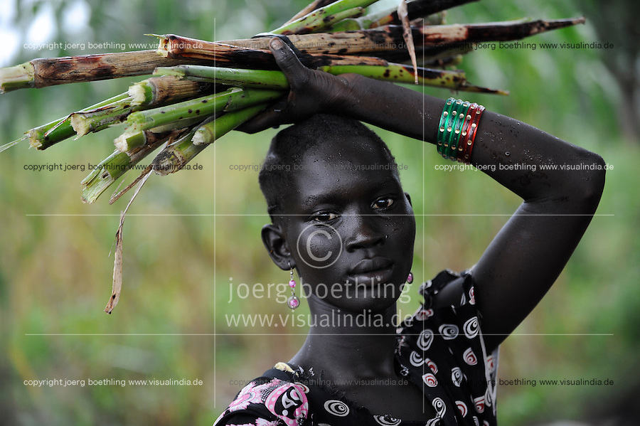 SOUTH SUDAN  Bahr al Ghazal region , Lakes State, town Rumbek , portrait of Dinka woman carrying sugarcane