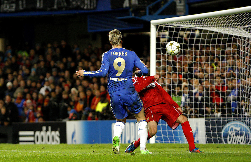 Chelsea's Fernando Torres scores his sides second goal 2-0..Football - UEFA Champions League Group E - Chelsea v NordsjÊlland - Wednesday 5th December 2012 - Stamford Bridge - London..